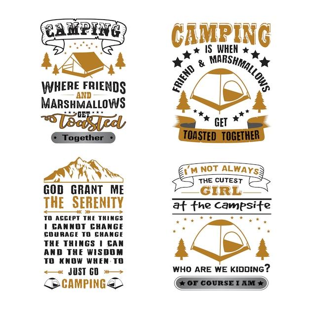 Camping quote e dicendo set Vettore Premium