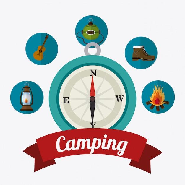 Camping viaggi e vacanze. Vettore gratuito