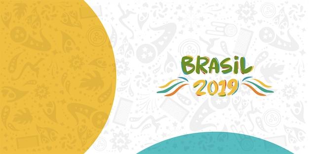 Campionato 2019 conmebol copa america in brasile Vettore Premium