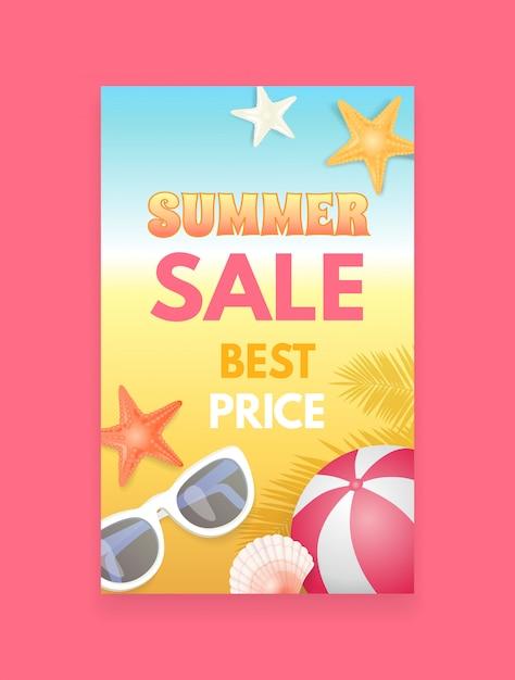 Campione dell'opuscolo di promozione dell'insegna di vettore di vendita di estate Vettore Premium