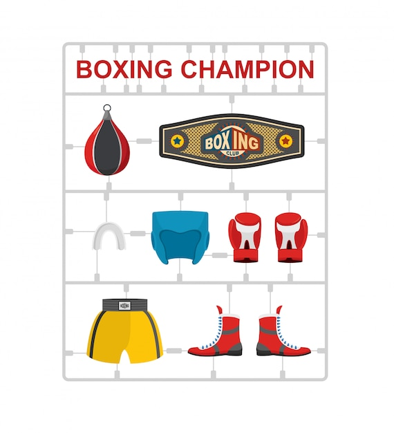 Campioni di boxe kit modello in plastica. Vettore Premium