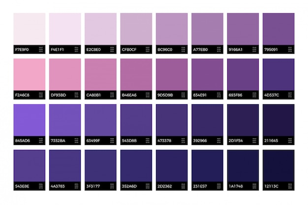 Campioni ultravioletti alla moda. insieme di vettore di colori di lavanda moda nuova stagione Vettore Premium