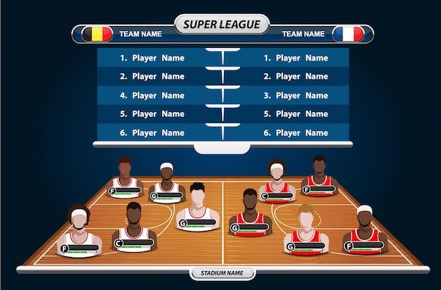 Campo da basket con elementi statistici. illustrazione vettoriale Vettore Premium