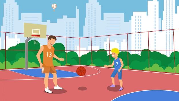 Campo da pallacanestro piano di vettore nella piccola città del parco. Vettore Premium