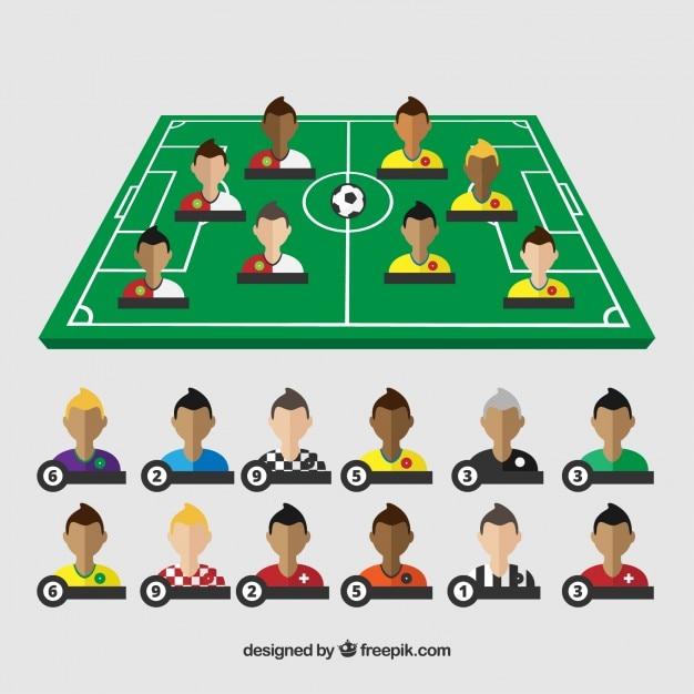 Campo di calcio con giocatori Vettore gratuito