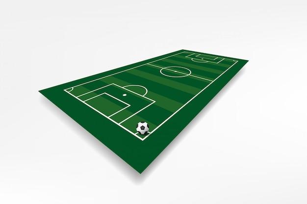 Campo di calcio con il calcio Vettore Premium