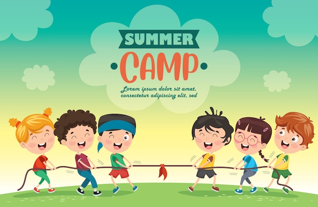 Campo estivo per bambini Vettore Premium