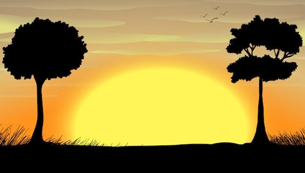 Campo silhouette Vettore gratuito