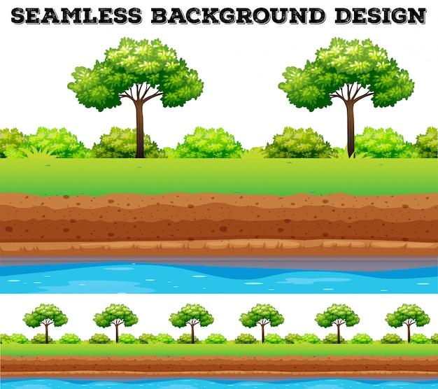 Campo verde con albero e cespuglio Vettore gratuito