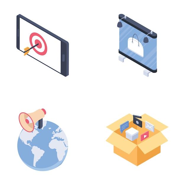 Canali multimediali pubblicitari digitali impostano icone isometriche Vettore Premium