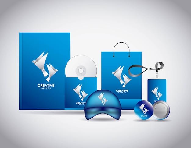 Cancelleria aziendale di modello di agenzia creativa identità aziendale Vettore Premium
