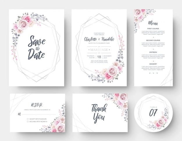 Cancelleria elegante del modello della carta dell'invito di nozze del fiore dell'acquerello Vettore Premium