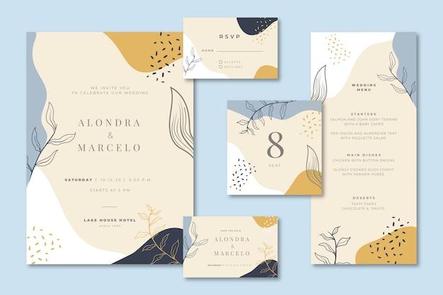Cancelleria per matrimoni con invito e menu Vettore gratuito
