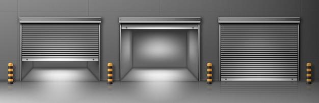 Cancello con avvolgibile in metallo a parete grigia. illustrazione realistica di vettore del corridoio Vettore gratuito