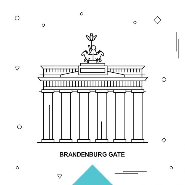 Cancello di brandeburgo Vettore Premium