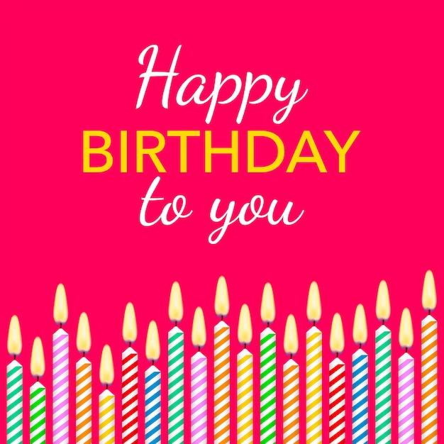 Candele colorate con diverse candele e testo buon compleanno. Vettore Premium
