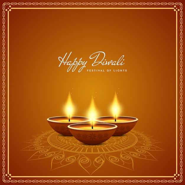 Candele realistiche felice diwali sfondo Vettore gratuito