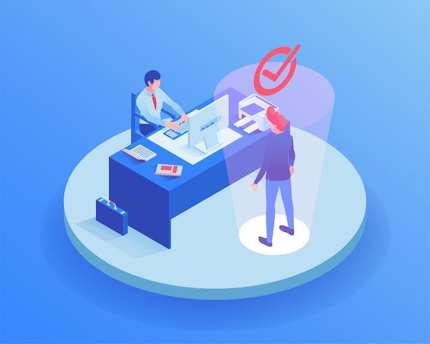 Candidato all'illustrazione isometrica di colloquio di lavoro Vettore Premium