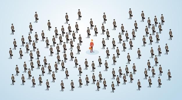 Candidato di reclutamento delle risorse umane dell'uomo d'affari rosso Vettore Premium