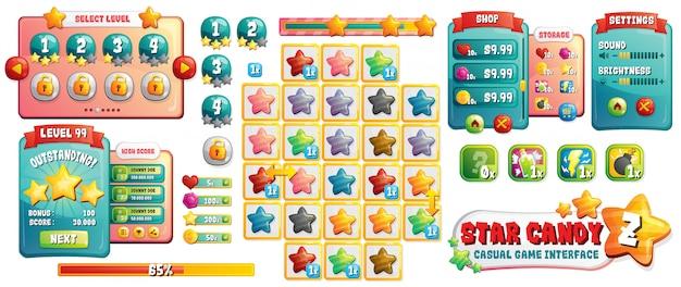 Candy games ui assets Vettore Premium