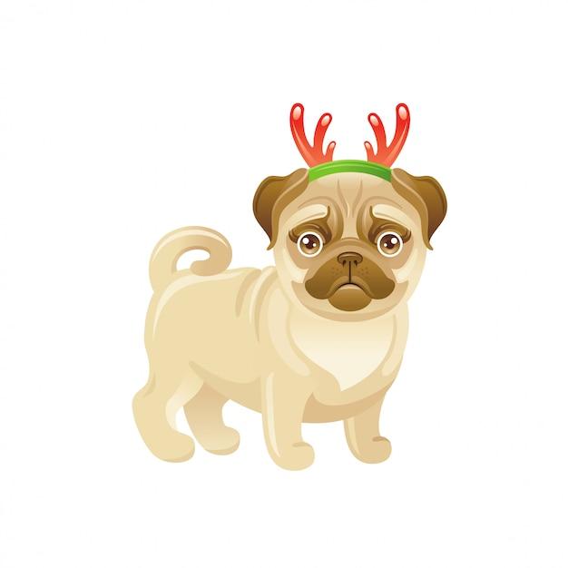 Cane carino con decorazione di corna di cervo di natale. cucciolo di carlino cartoon. auguri di buon natale. Vettore Premium