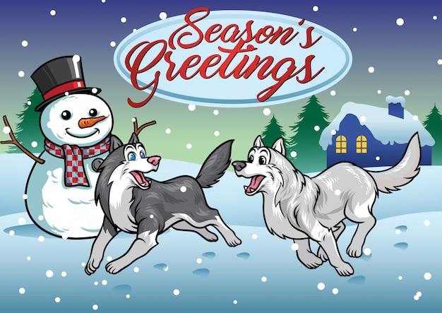 Cane dei husky che gioca nella neve Vettore Premium