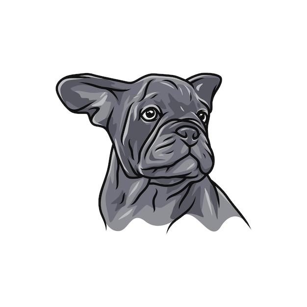 Cane del bulldog francese logo di vettore mascotte dell