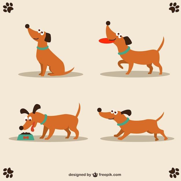 Cane di disegno vettoriale simpatico personaggio Vettore gratuito