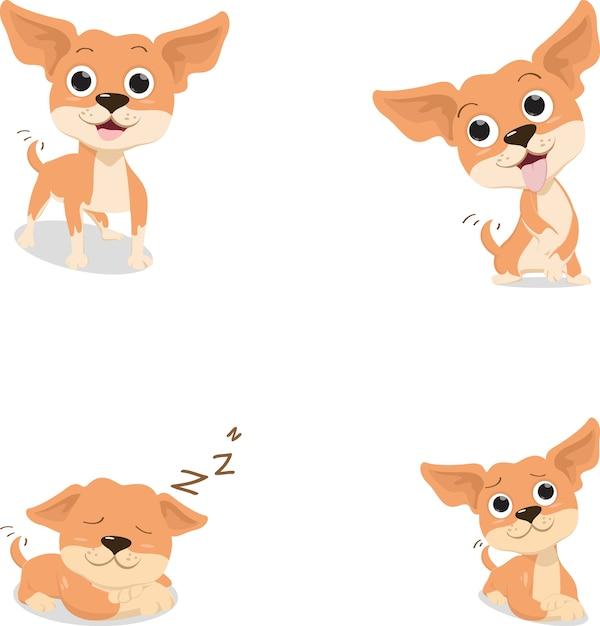 Cane divertente della chihuahua marrone del fumetto in varia posa Vettore Premium
