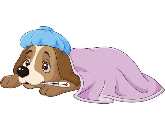 Cane malato di cartone animato con borsa del ghiaccio e termometro
