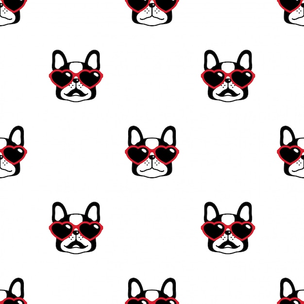 Cane seamless pattern bulldog francese cuore occhiali da sole cartoon Vettore Premium