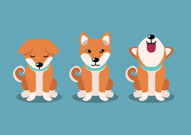 Cane shiba inu pone, personaggio dei cartoni animati Vettore Premium