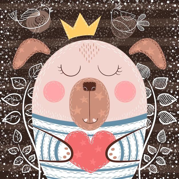 Cane simpatico cartone animato - illustrazione divertente. disegnare a mano Vettore Premium