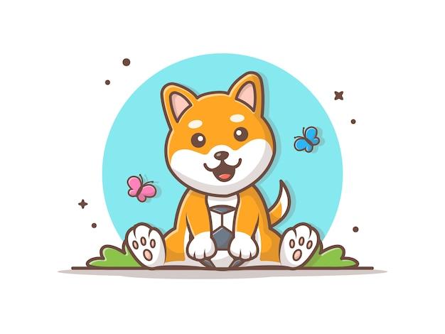 Cane sveglio che gioca palla con l'illustrazione dell'icona della farfalla Vettore Premium