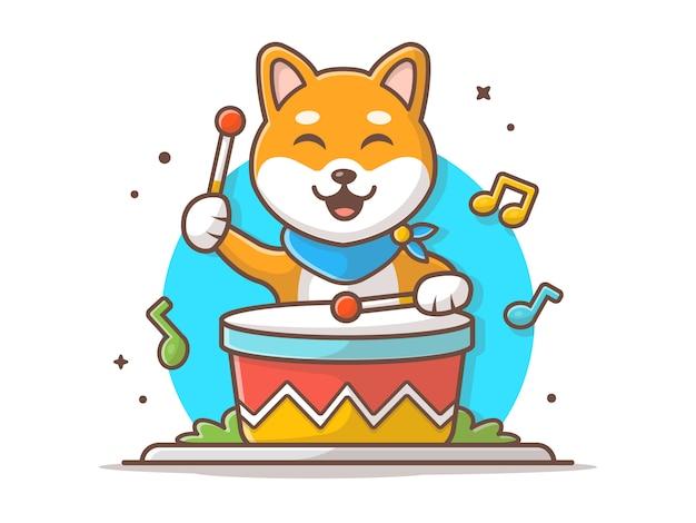 Cane sveglio che gioca tamburo con il bastone, la melodia e le note dell'illustrazione dell'icona di vettore di musica. bianco di concetto dell'icona di musica e dell'animale isolato Vettore Premium