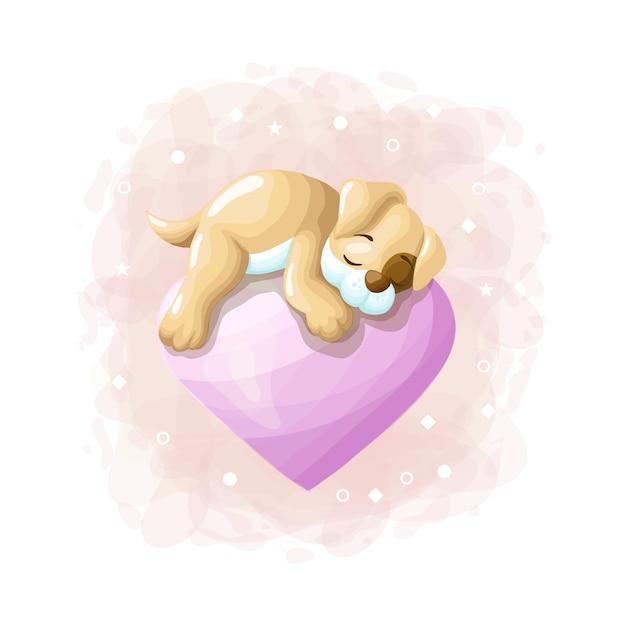 Cane sveglio del fumetto che dorme sul vettore dell'illustrazione del pallone di amore Vettore Premium