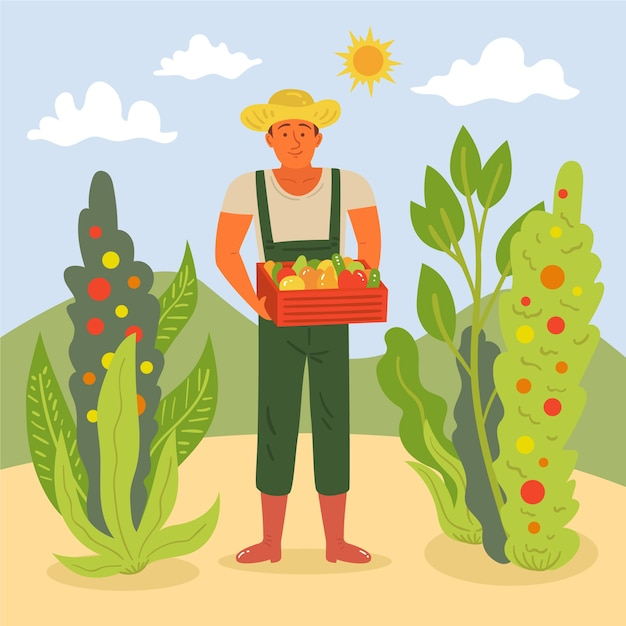 Canestro della tenuta dell'uomo del paesaggio dell'azienda agricola con le verdure Vettore gratuito