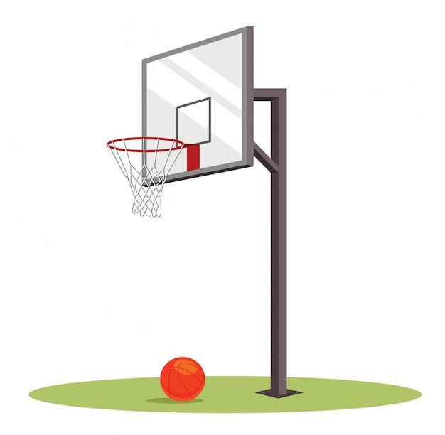 Canestro e palla di pallacanestro sul campo verde. Vettore Premium