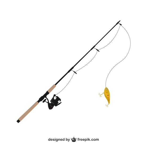 Canna da pesca illustrazione vettoriale Vettore gratuito