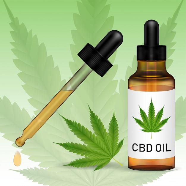 Cannabidiolo o olio di cbd con foglia di marijuanna Vettore Premium
