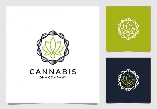 Cannabis con logo tondo dna Vettore Premium