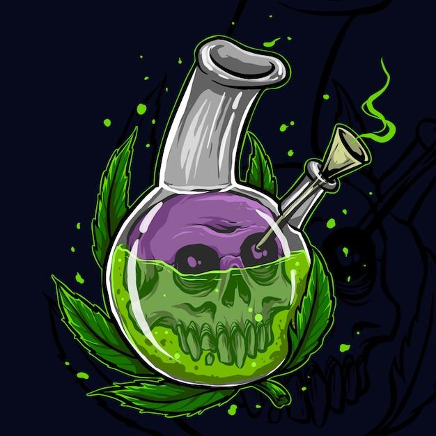 Cannabis in un barattolo con teschio Vettore Premium
