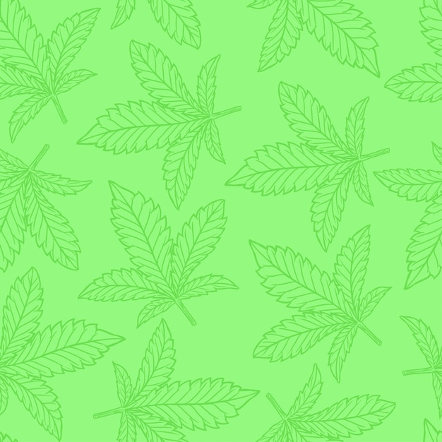 Cannabis o foglia di canapa senza cuciture Vettore Premium