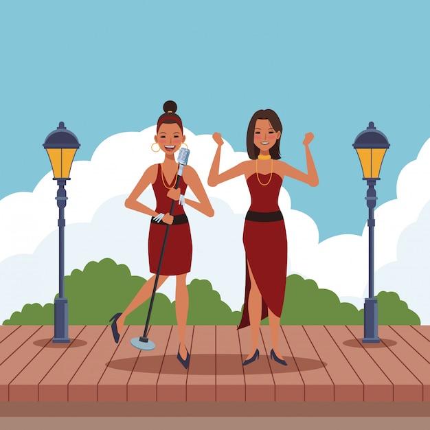 Cantante e ballerina Vettore Premium