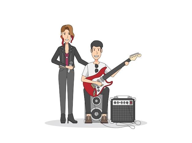 Cantante femminile e vibrazione del rock and roll del chitarrista Vettore gratuito