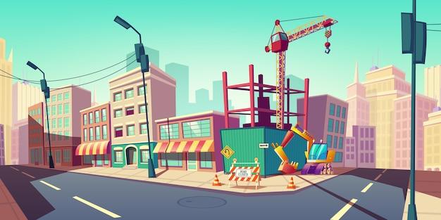 Cantiere con la gru di costruzione sull'illustrazione della via Vettore gratuito