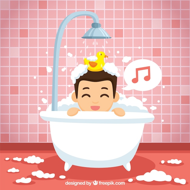 Canto ragazzo bello in bagno Vettore gratuito