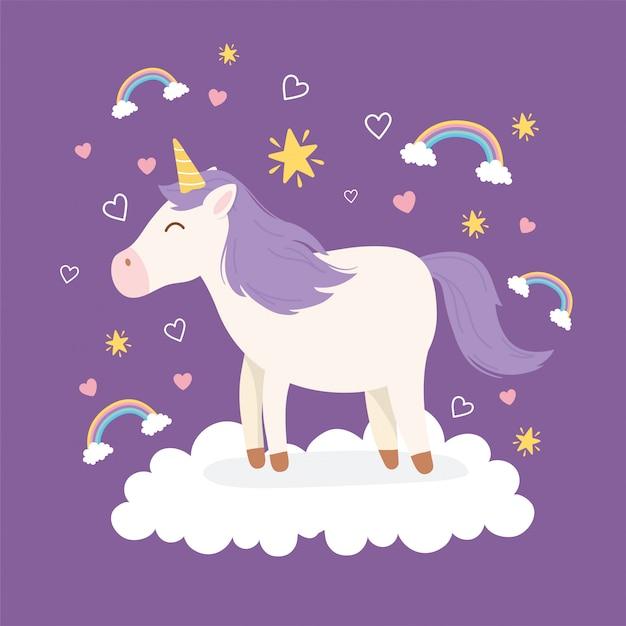Capelli viola unicorno su nuvola arcobaleni decorazione animale magico cartone animato fantasia animale carino Vettore Premium