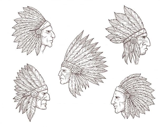 Capi indiani nativi americani con piume Vettore Premium