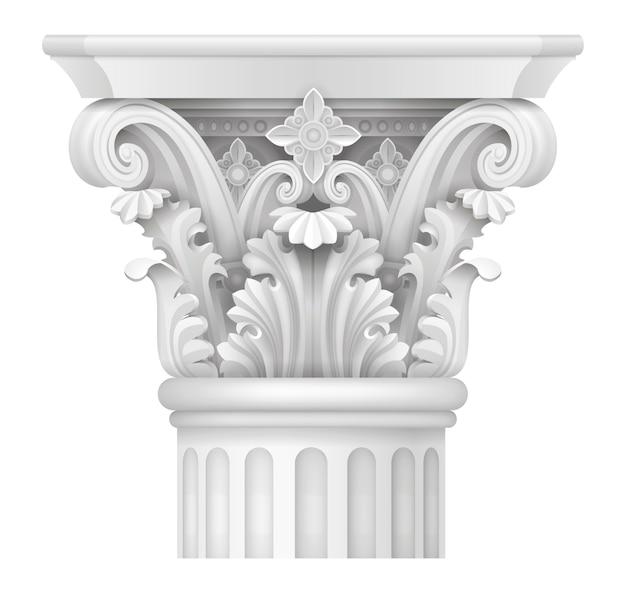 Capitale della colonna corinzia Vettore Premium